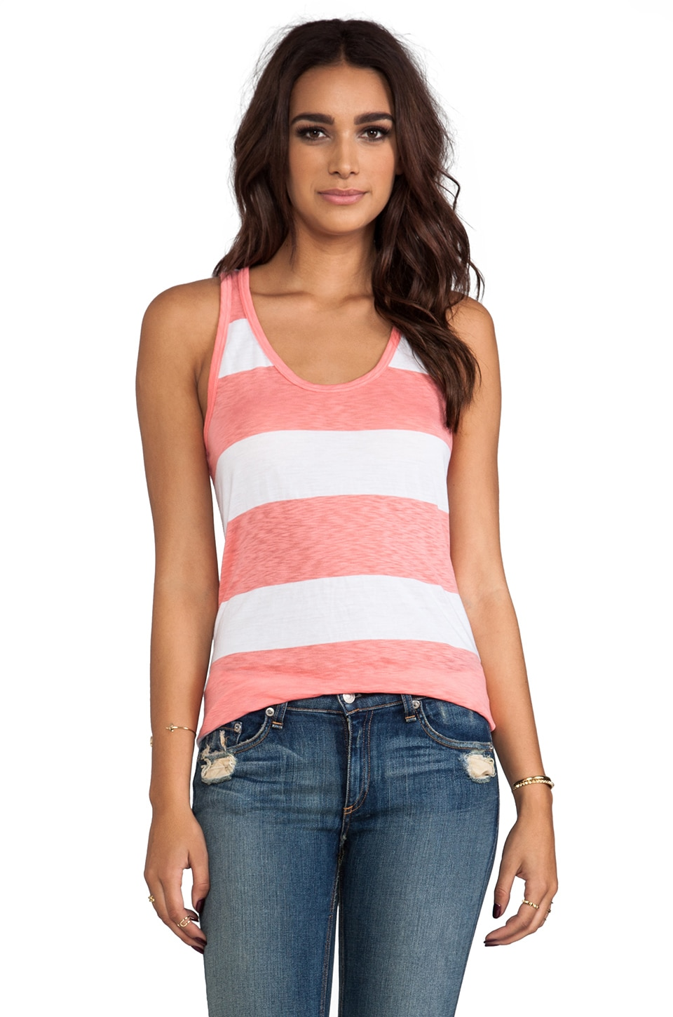 C&C California Stripe Scoop Neck Tank in Faded Glare