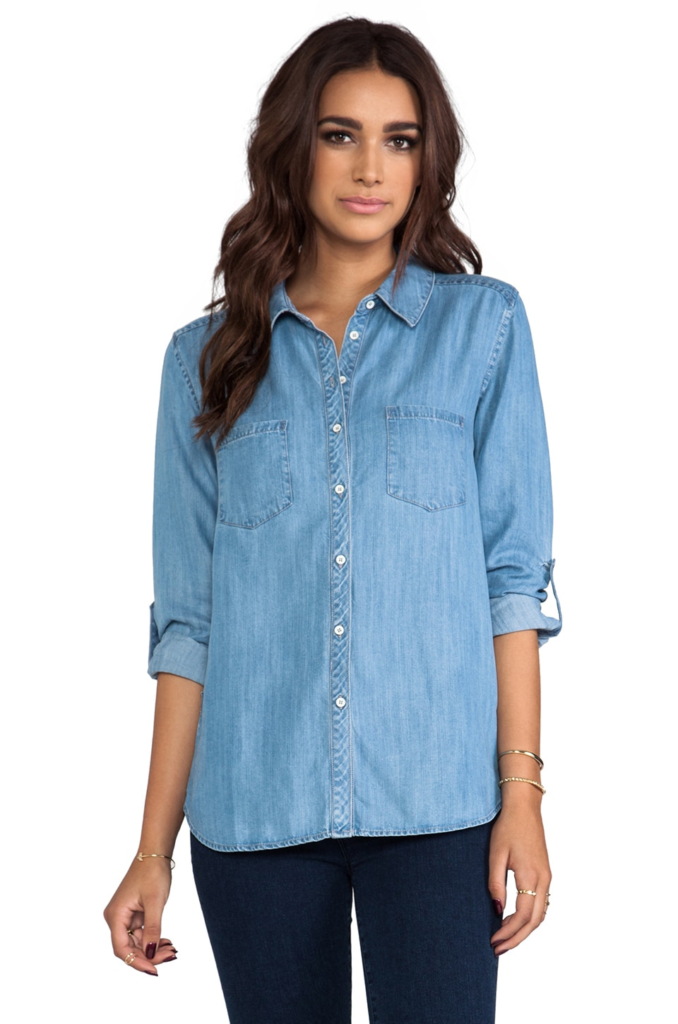 C&C California Textured Chambray Two Pocket Shirt in Chambray Multi