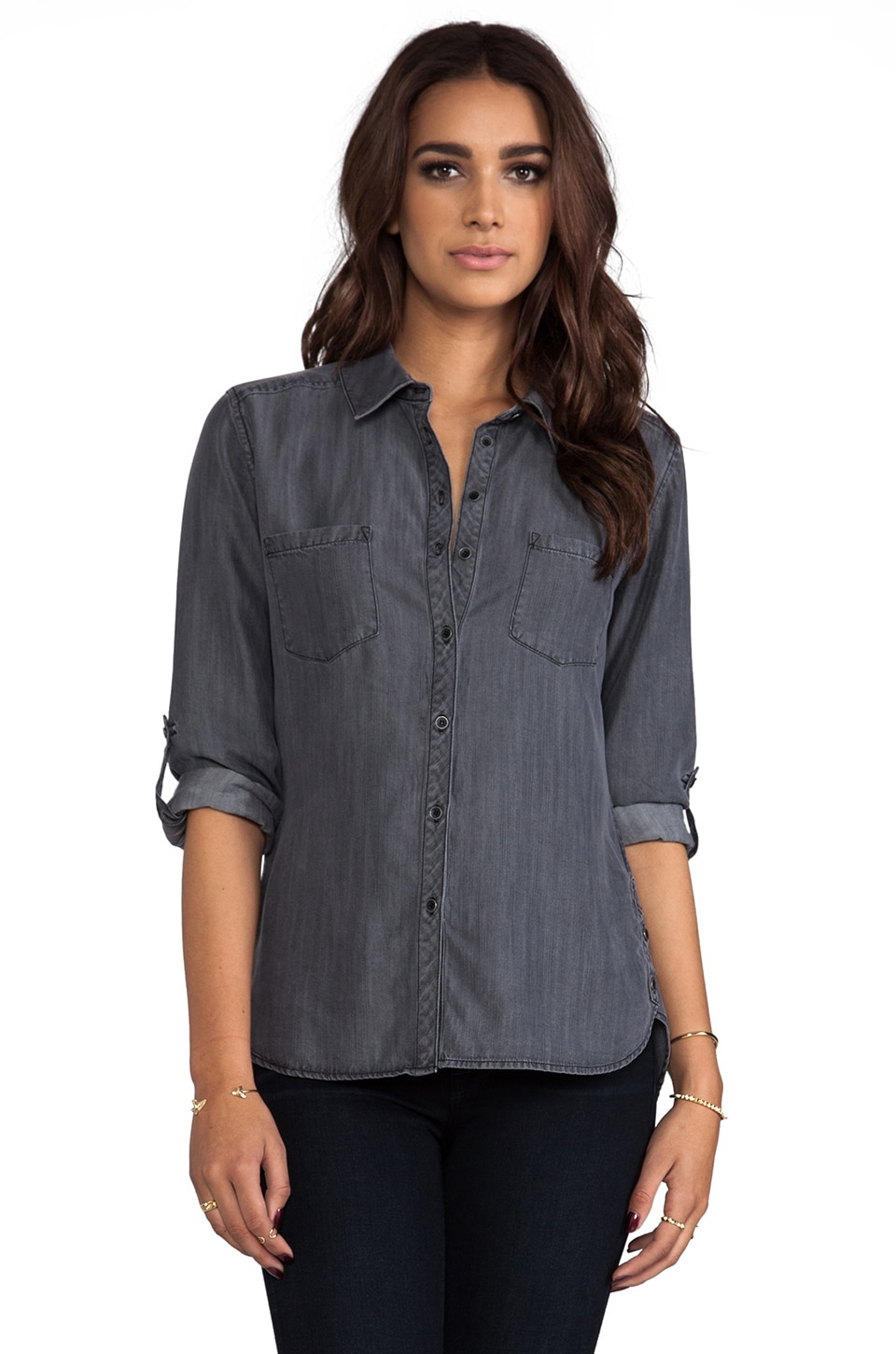 C&C California Textured Chambray Two Pocket Shirt in Black