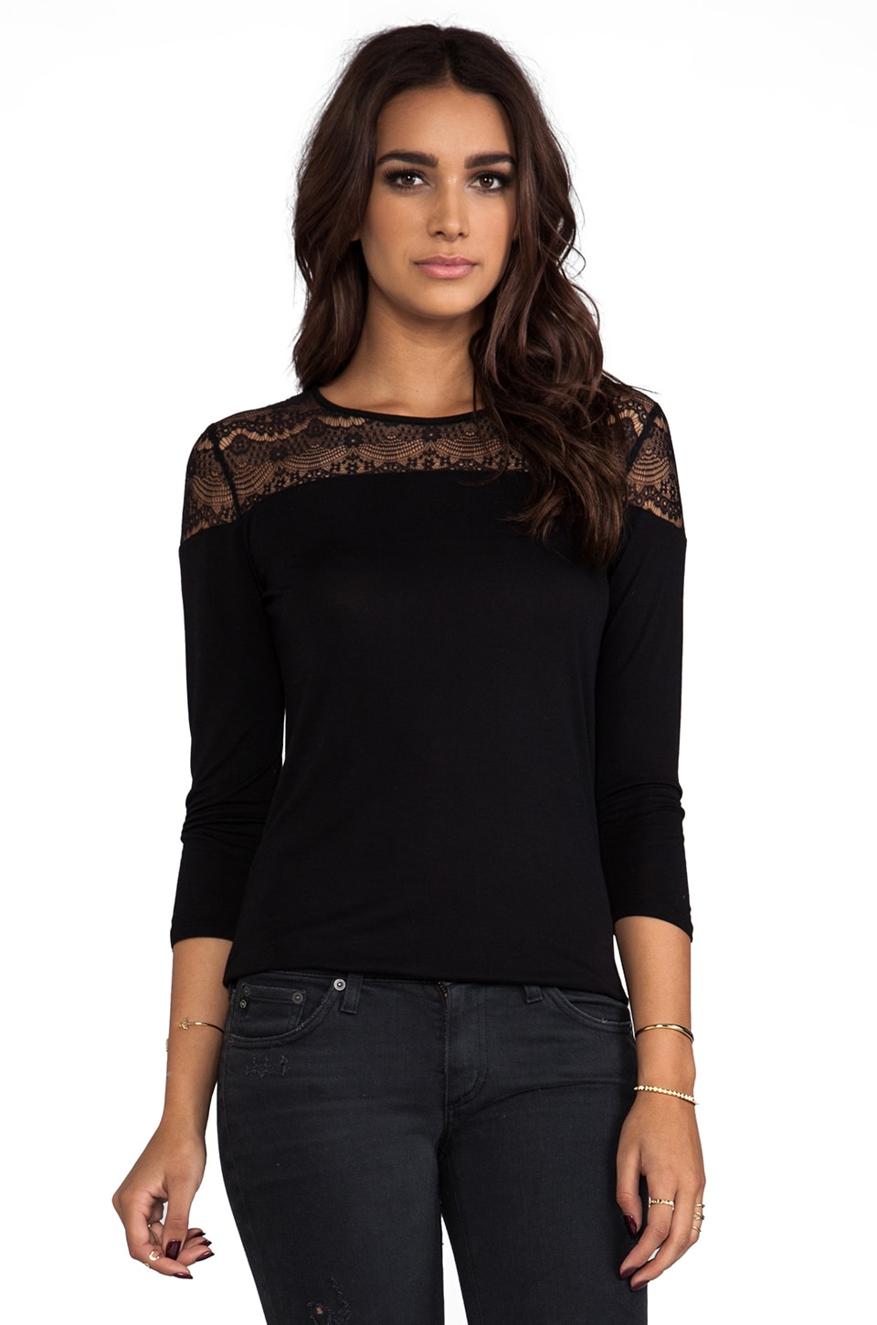 C&C California Long Sleeve Lace Top in Black
