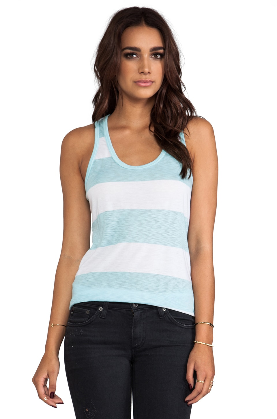 C&C California Stripe Scoop Neck Tank in Mist Blue