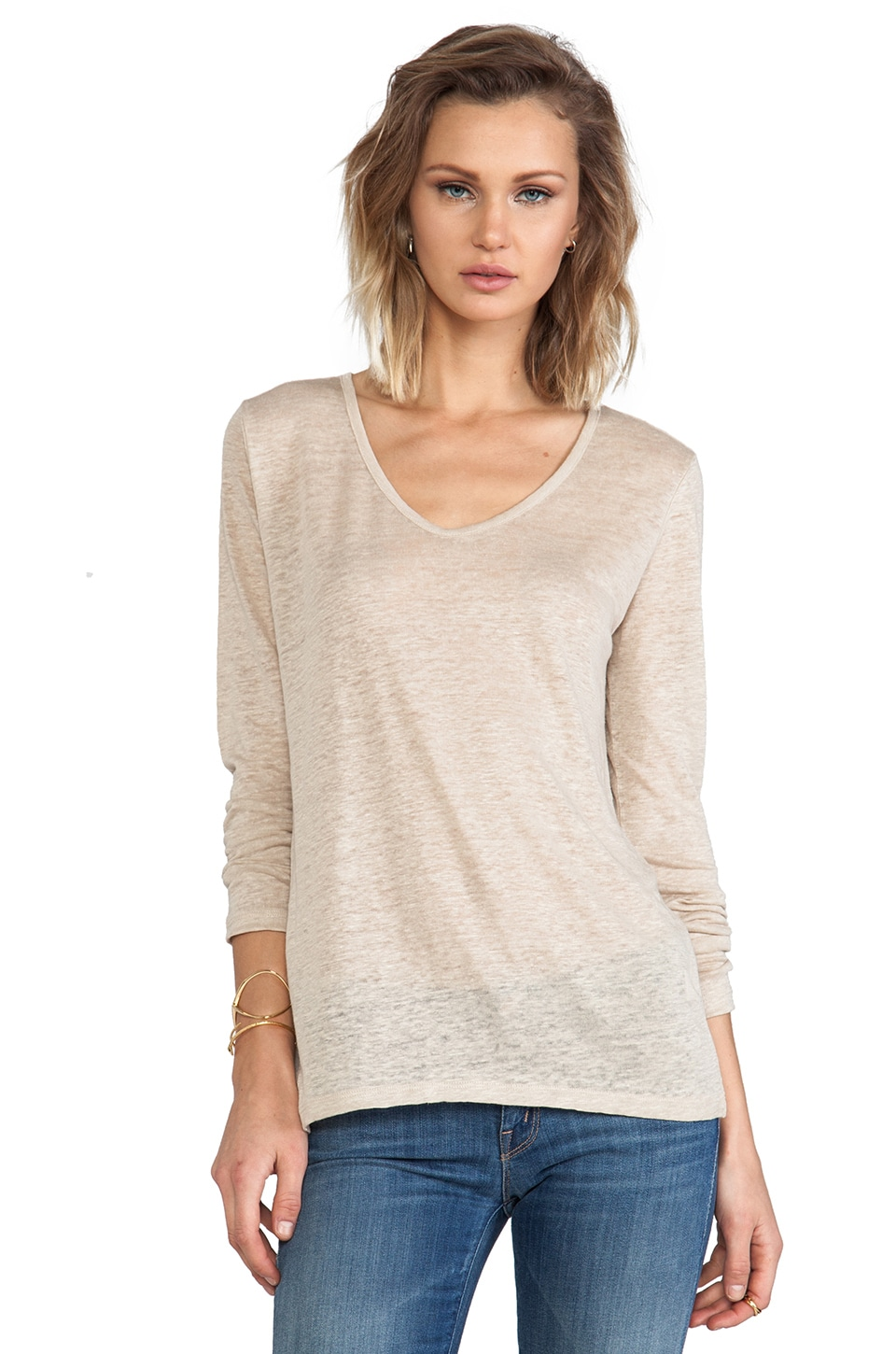 C&C California Long Sleeve Hi-Lo Top in Sand