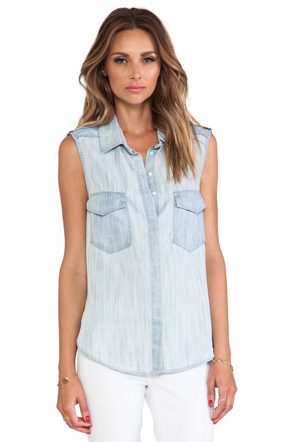 C&C California Surf Wash Button Down Top in Chambray Multi