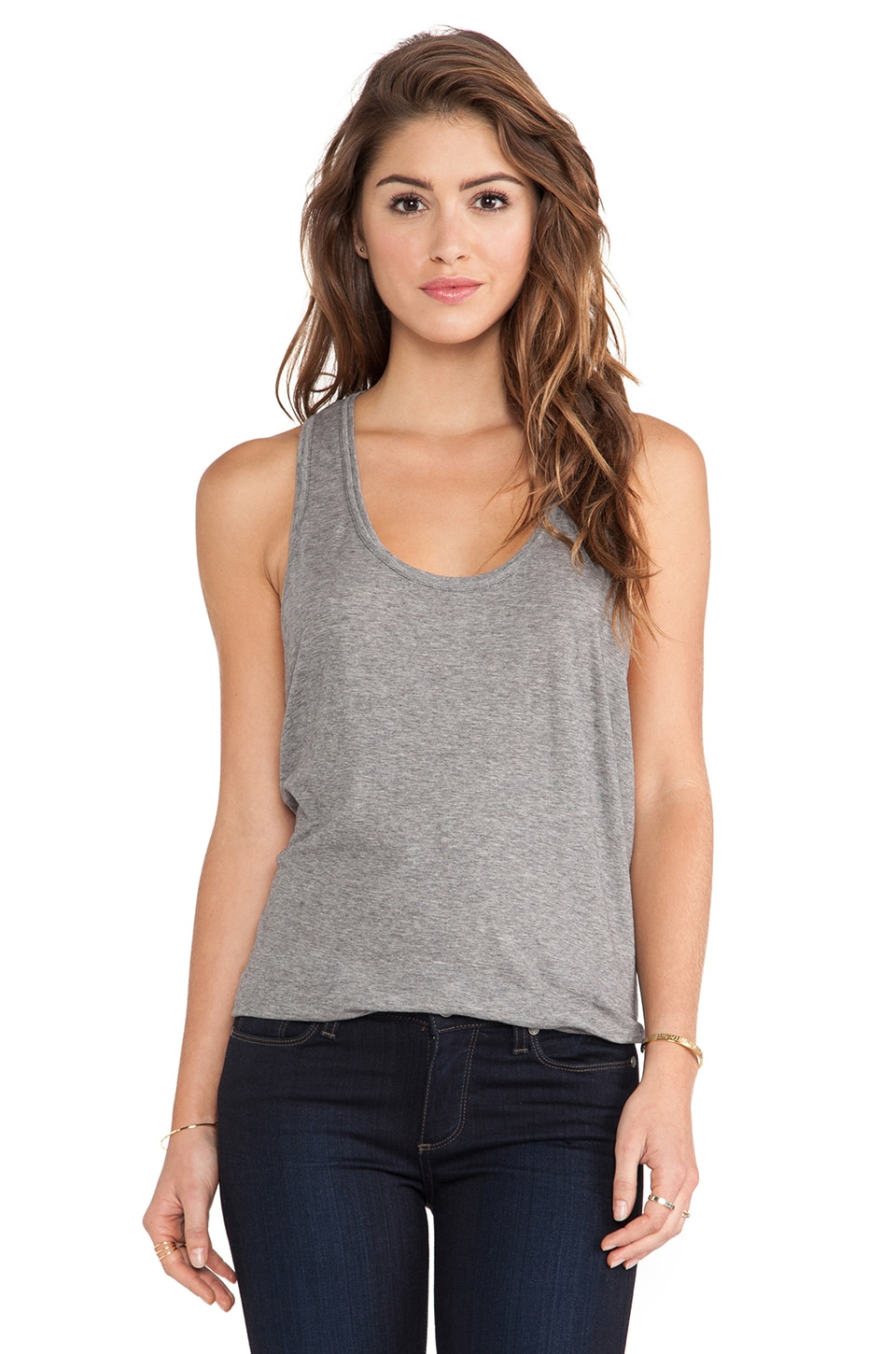 C&C California Double Banded Tank in Heather Grey