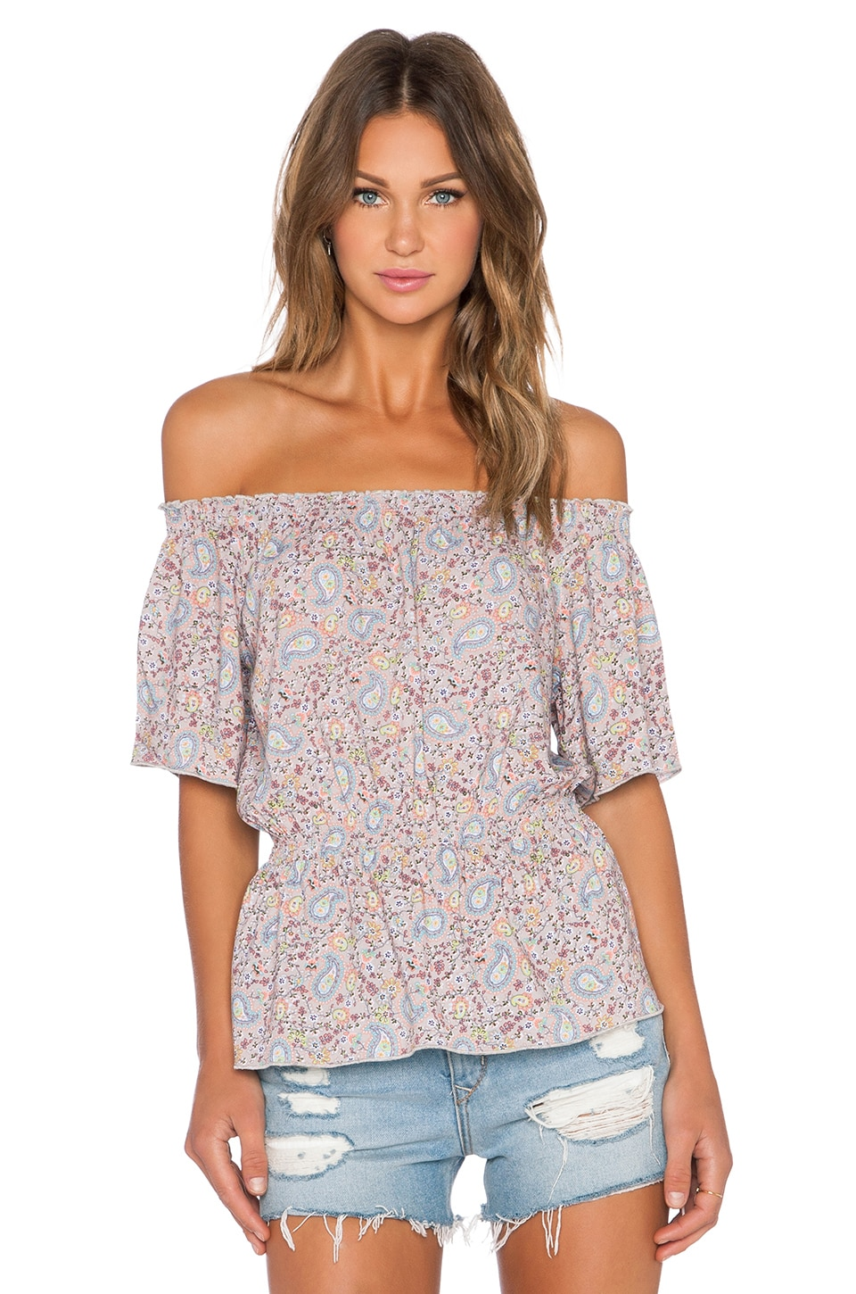 C&C California Off The Shoulder Peasant Top in SImply Taupe