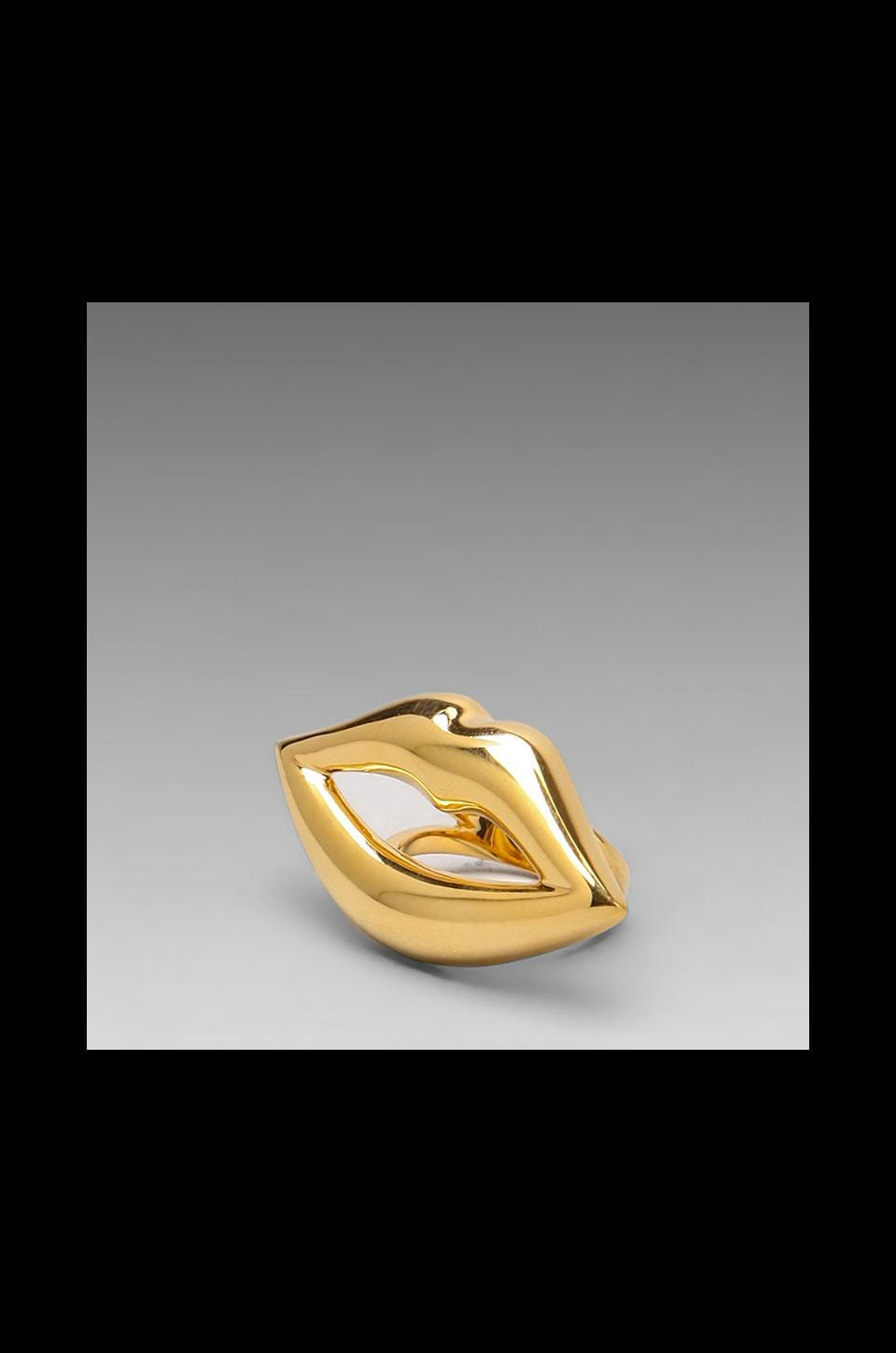 CC Skye Kiss Me Lips Ring in Gold