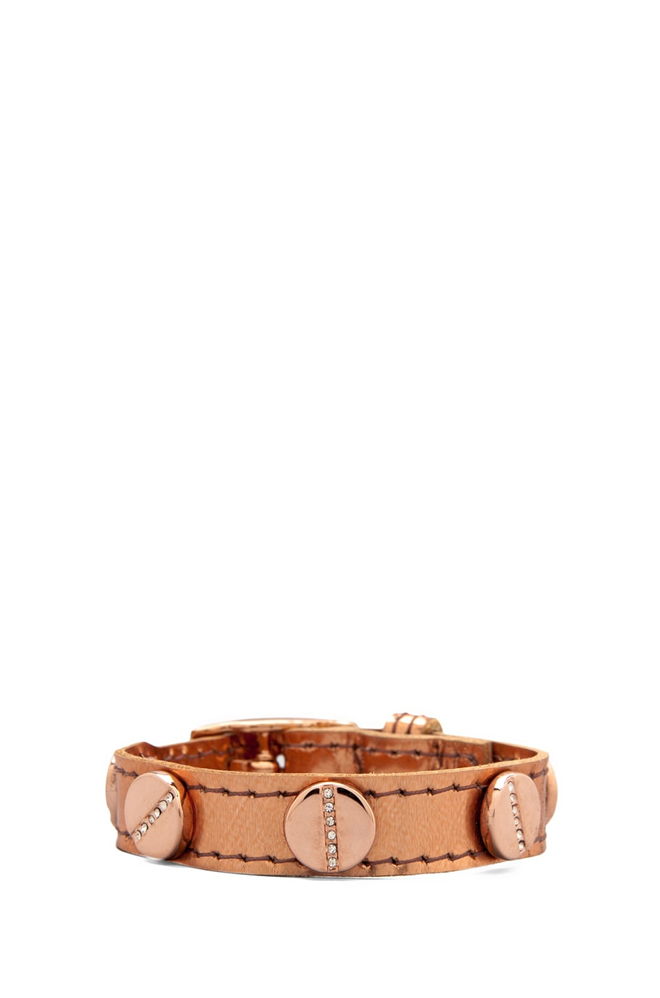 CC Skye The Single Wrap Pave Screw Bracelet in Liquid Rose Gold/Pave Rose Gold