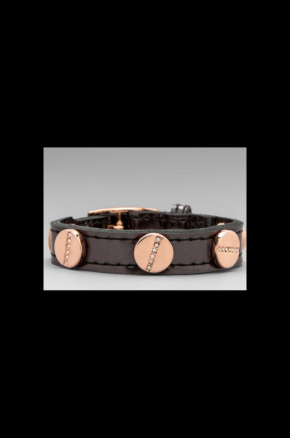 CC Skye The Single Wrap Pave Screw Bracelet in Anthracite/Pave Rose Gold
