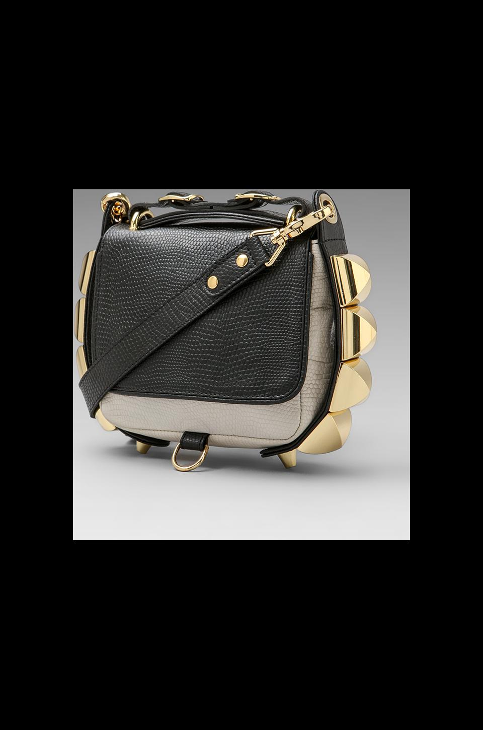 CC Skye The Studded Eden Two Tone Python Crossbody in Black/White