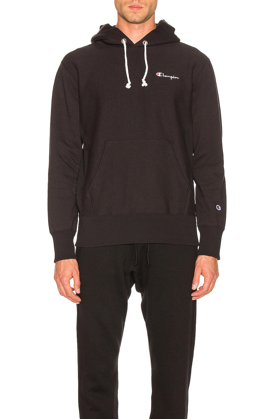 Champion Reverse Weave Champion Hooded Sweatshirt in Black