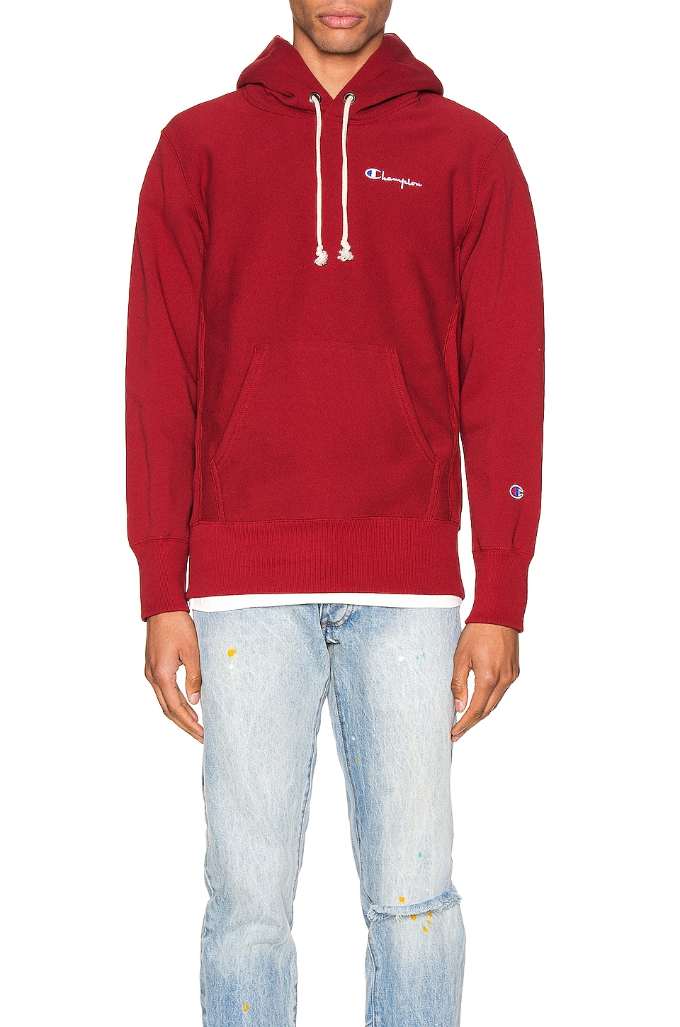 Champion Reverse Weave Small Script Hooded Sweatshirt in Scarlet