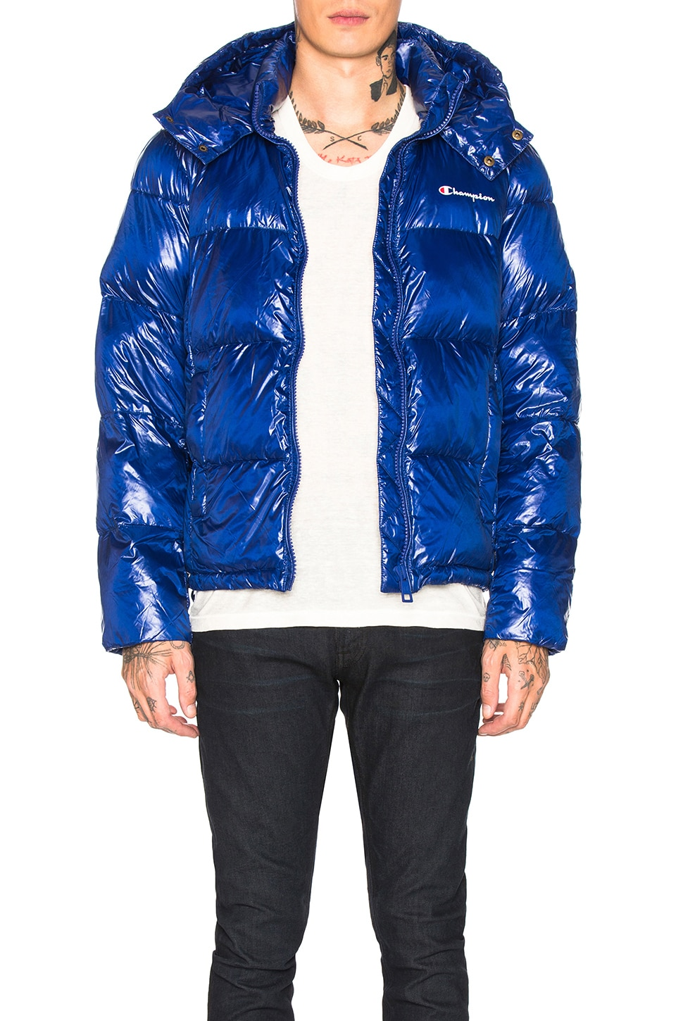 Champion Reverse Weave Hooded Puffer Jacket in Royal Blue