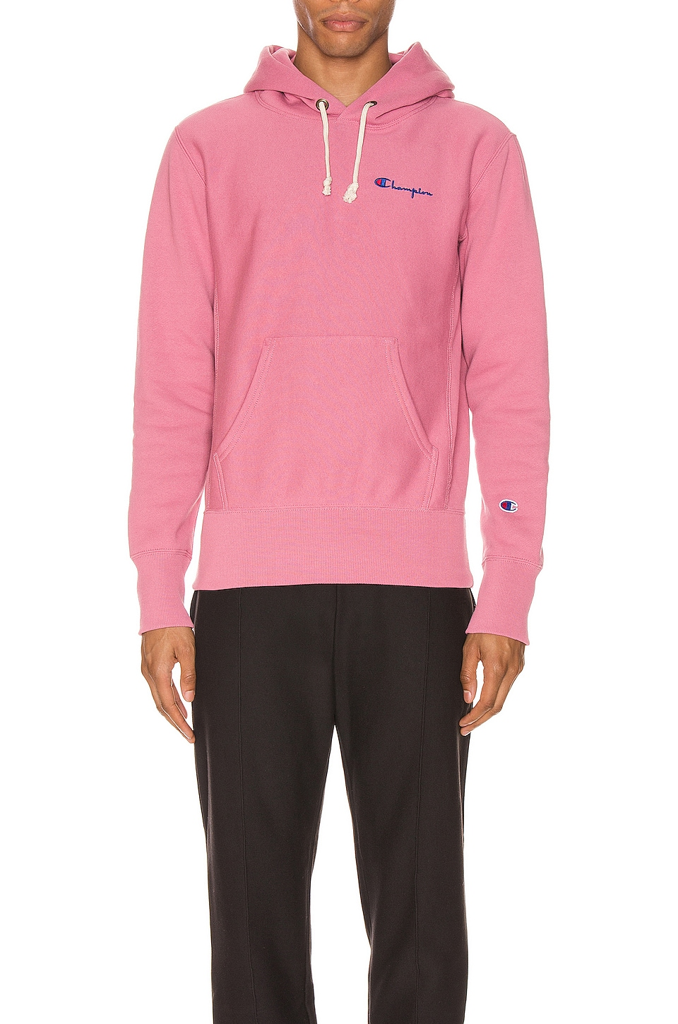 Champion Reverse Weave Small Script Hooded Sweatshirt in Heather Rose