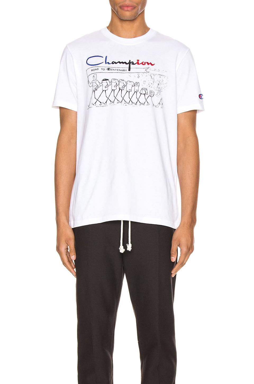 Champion Reverse Weave Centenary T-Shirt in White