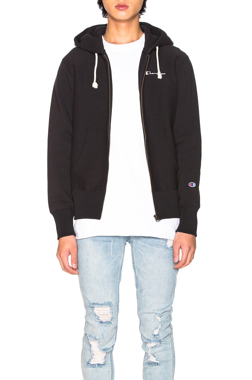 Champion Reverse Weave Hooded Sweatshirt in Black