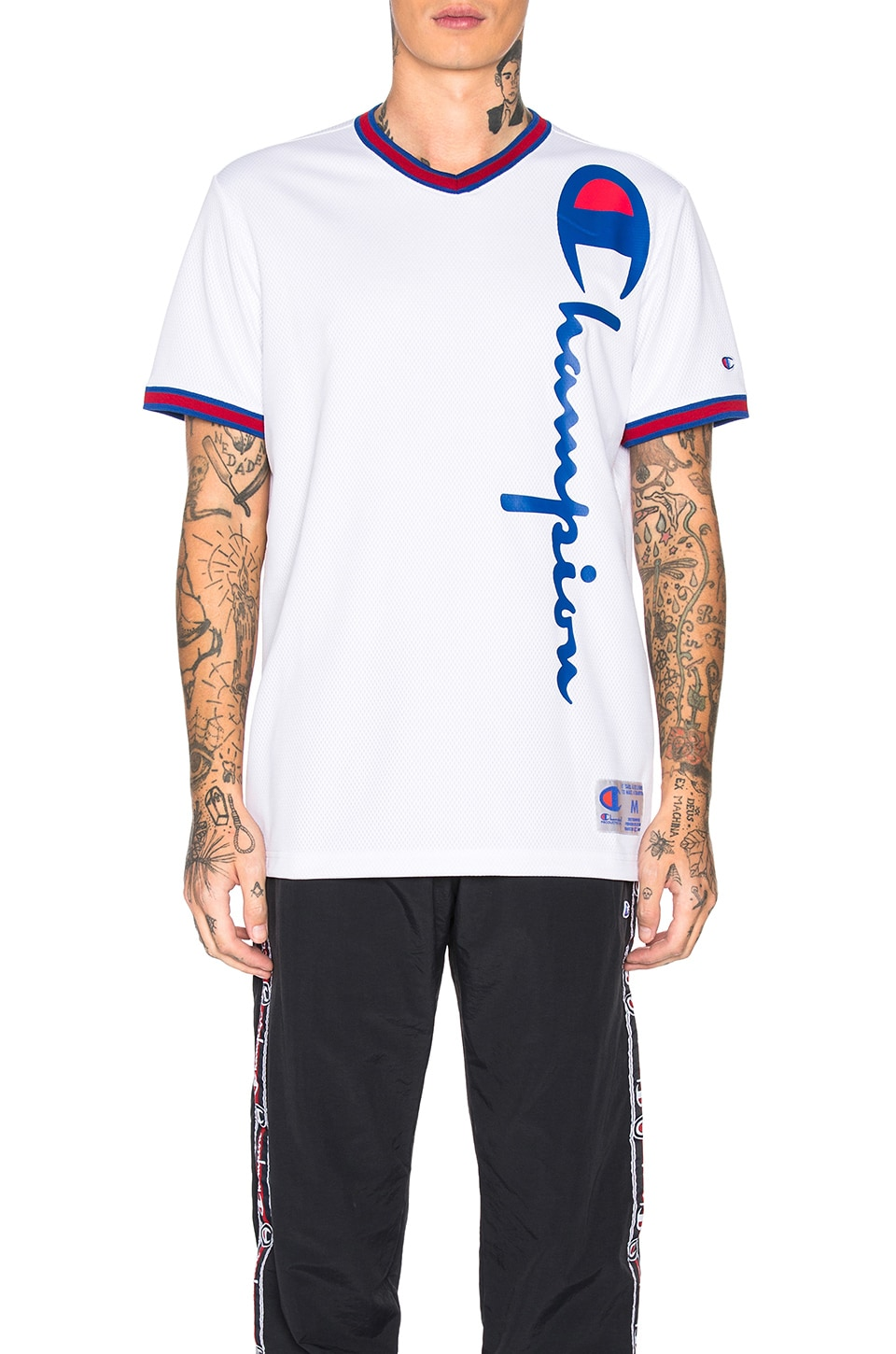 Champion Reverse Weave Champion V-Neck Logo Tee in White & Red & Blue
