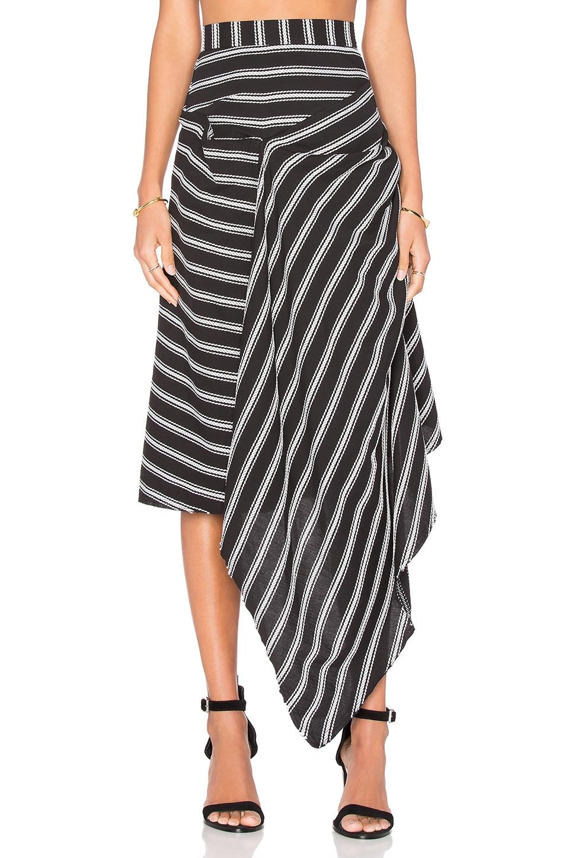 Acler Avril Stripe Skirt in Black   REVOLVE