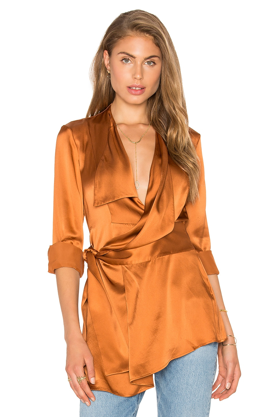 Acler Bennet Silk Shirt in Bronze