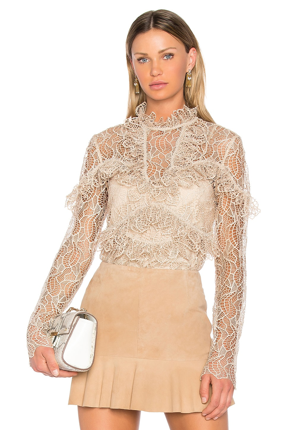 Acler Elan Lace Blouse in Buff