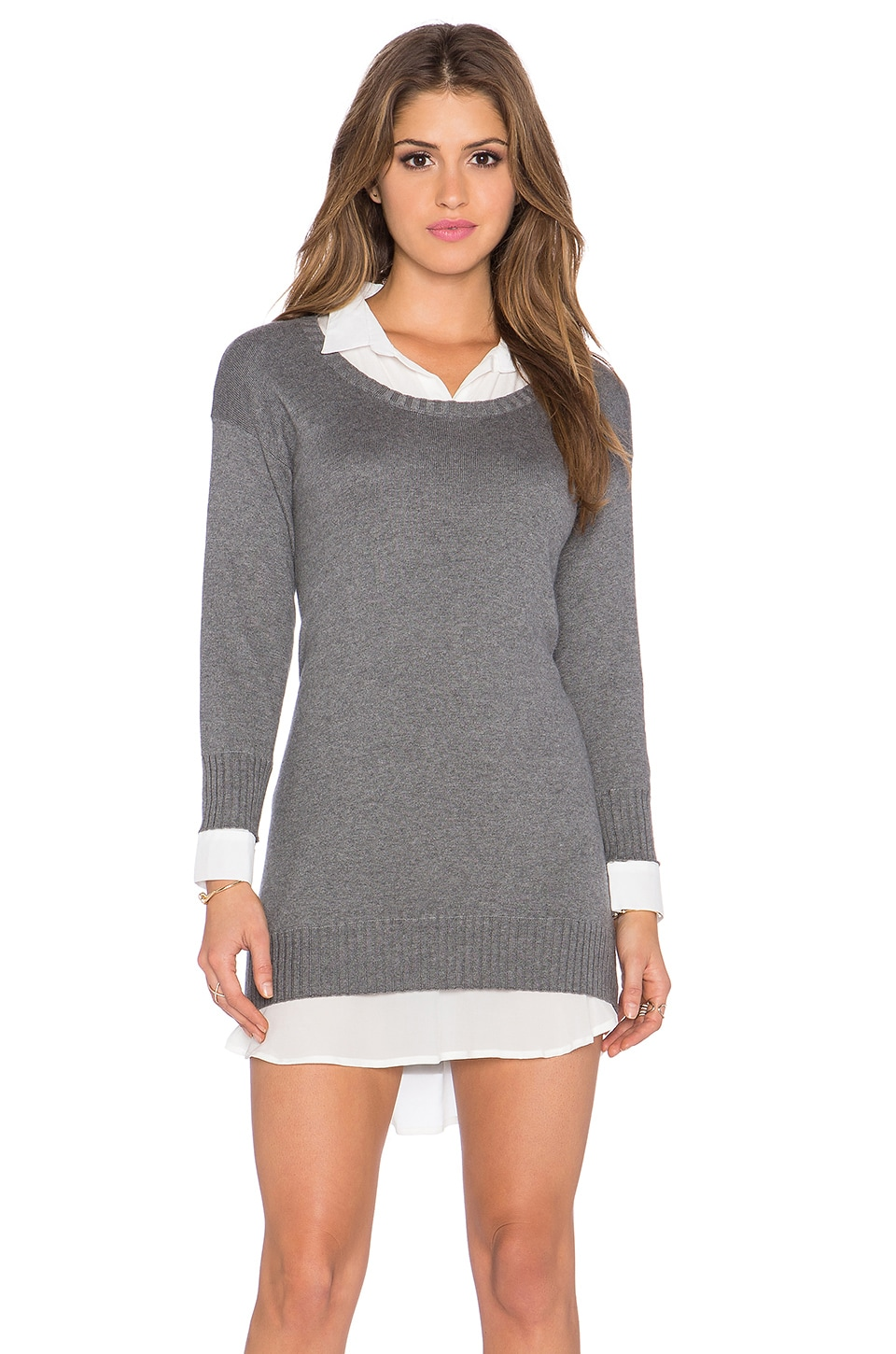 Central Park West Cambridge Layered Sweater Dress in Charcoal & Solid White