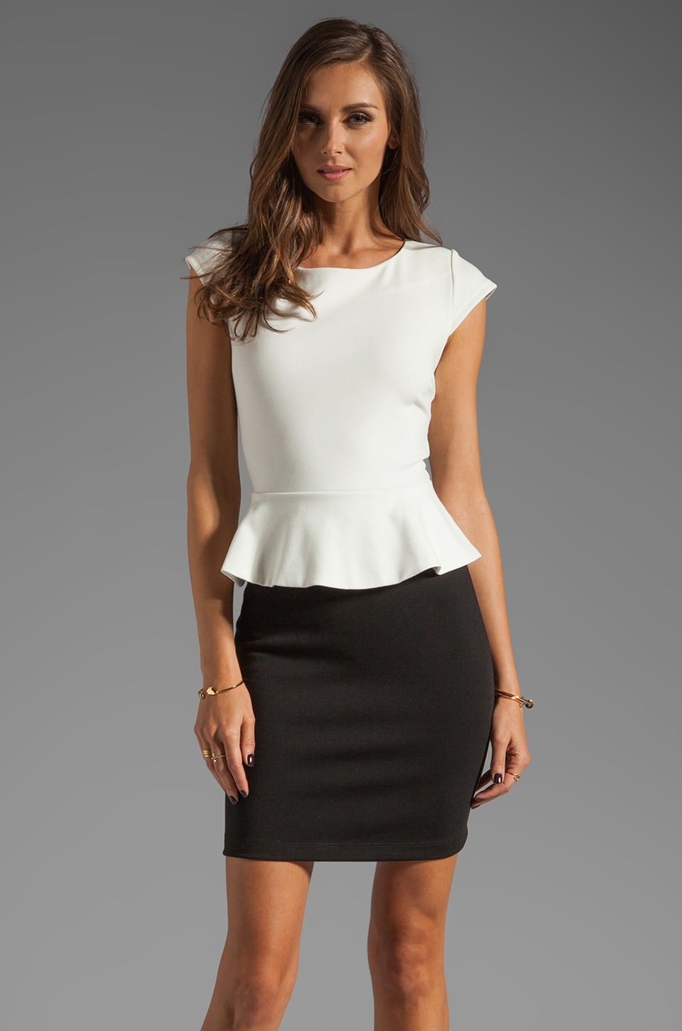 Central Park West Newport Peplum Short Sleeve Dress in Ivory/Black
