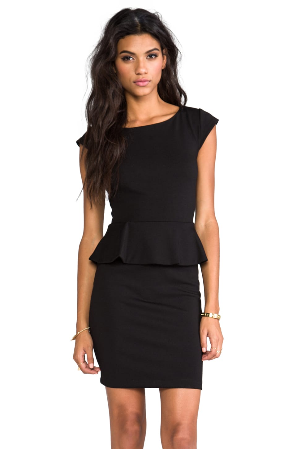 Central Park West Newport Peplum Short Sleeve Dress in Black