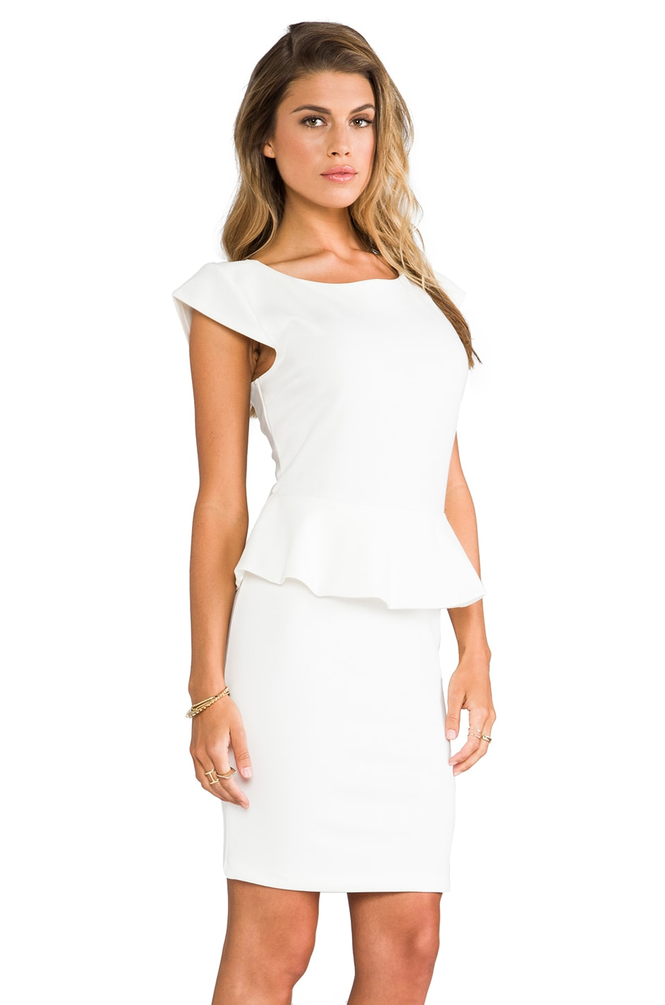 Central Park West Newport Peplum Short Sleeve Dress in Ivory