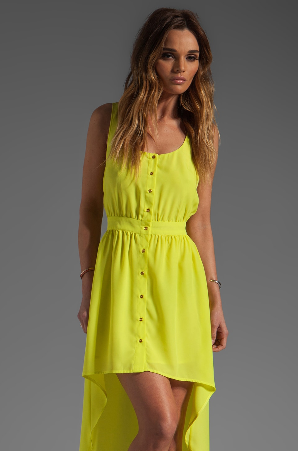 Central Park West Beaumont Hi-Low Tank Dress in Chartreuse