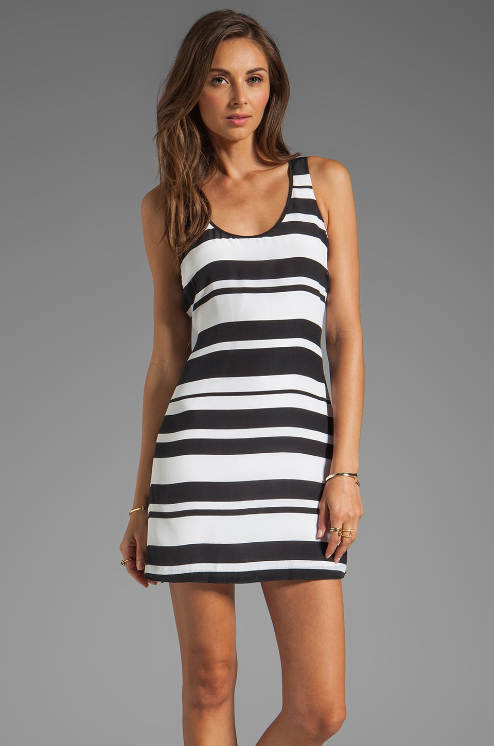 Central Park West Tahiti Striped Tank in Black/White