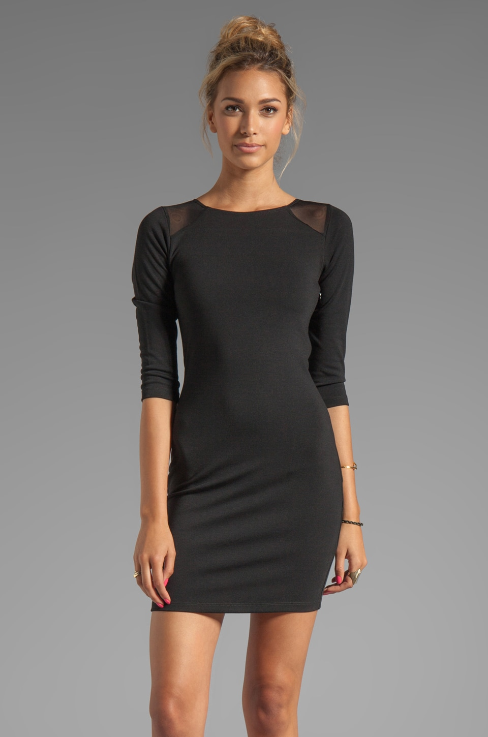 Central Park West Sparks Long Sleeve Ponte/Mesh Dress in Black