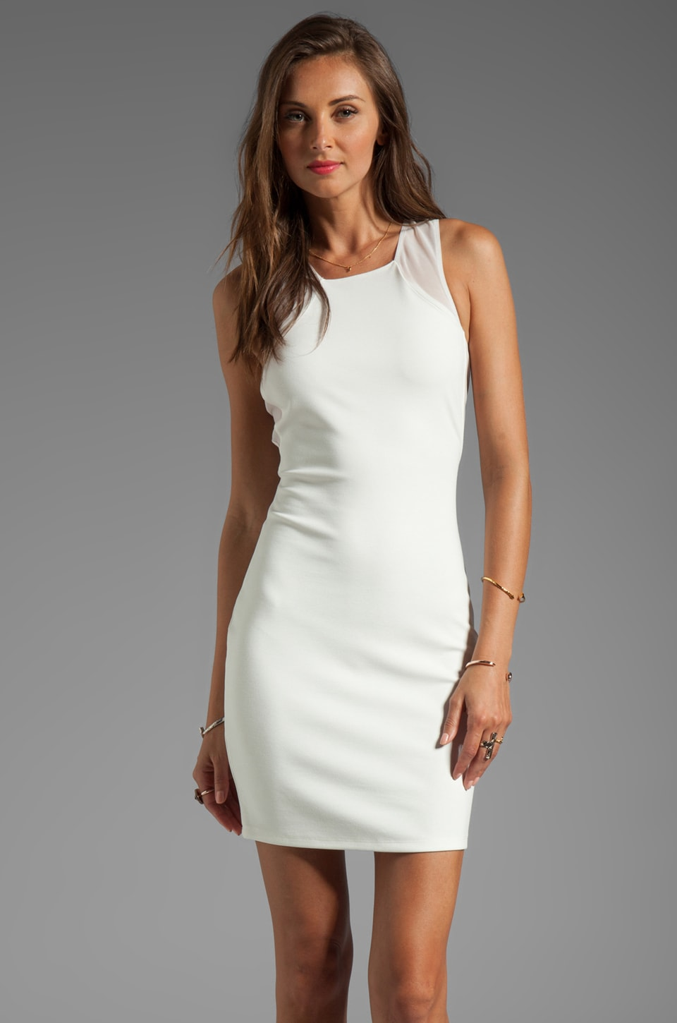 Central Park West Sparks Ponte/Mesh Tank Dress in White