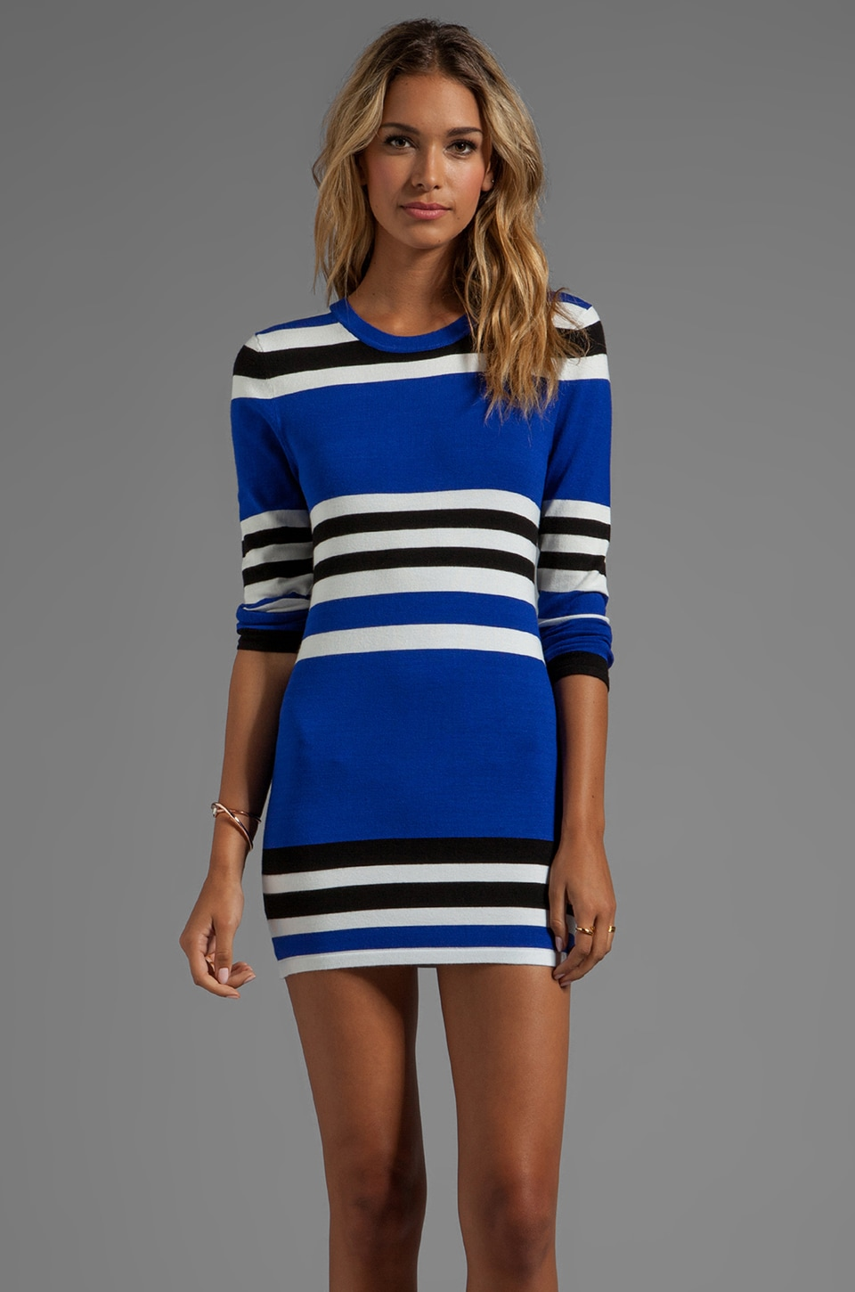 Central Park West Casper Long Sleeve Striped Body Con in Cobalt/White/Black