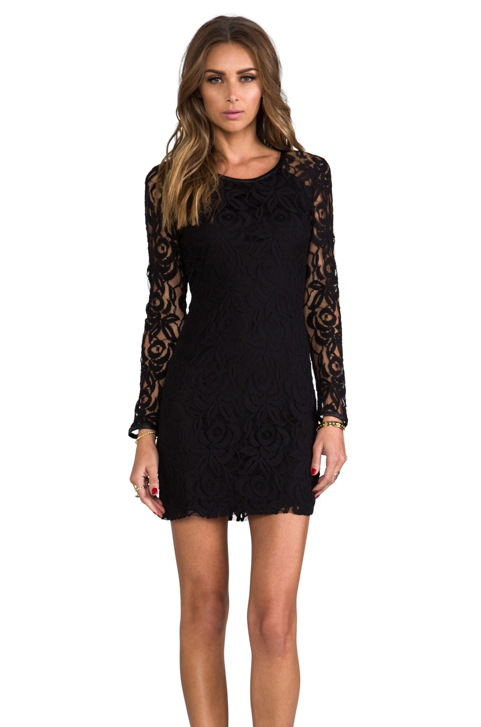 Central Park West Harlem Square Lace Dress in Black