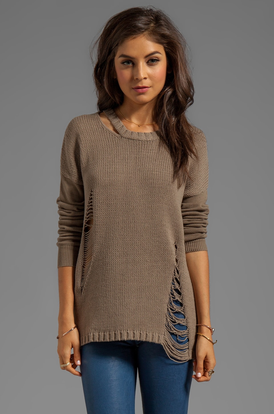 Central Park West Mesa Shredding Pullover in Taupe