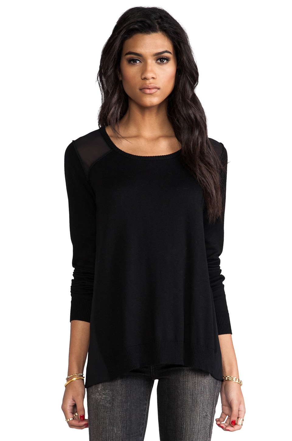 Central Park West Military Marblehead Sweater in Black