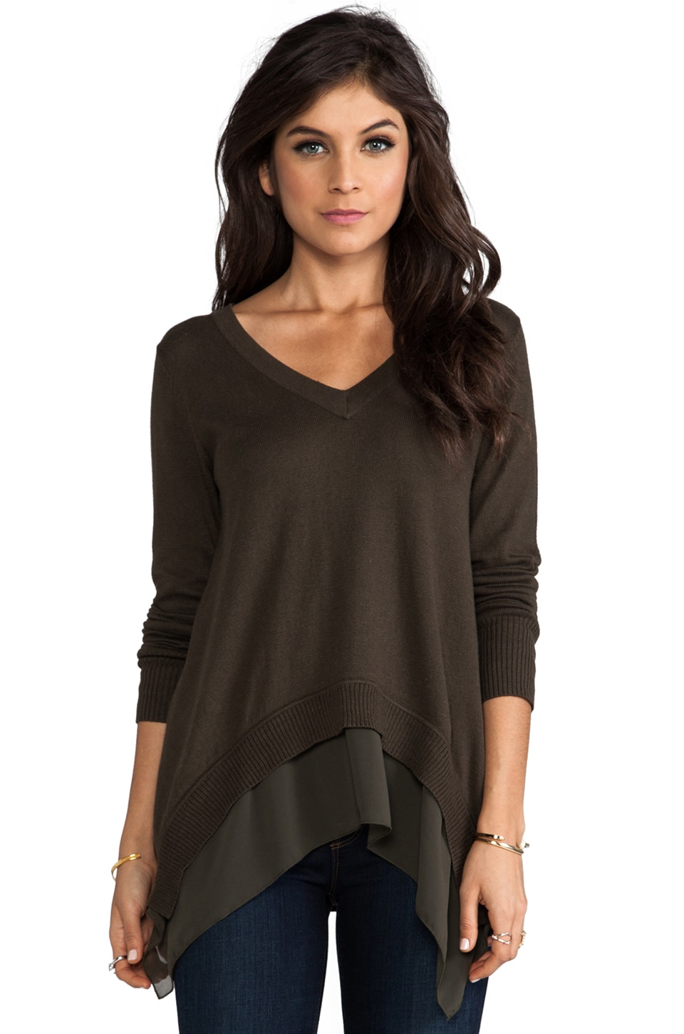 Central Park West V Neck Marblehead Sweater in Olive