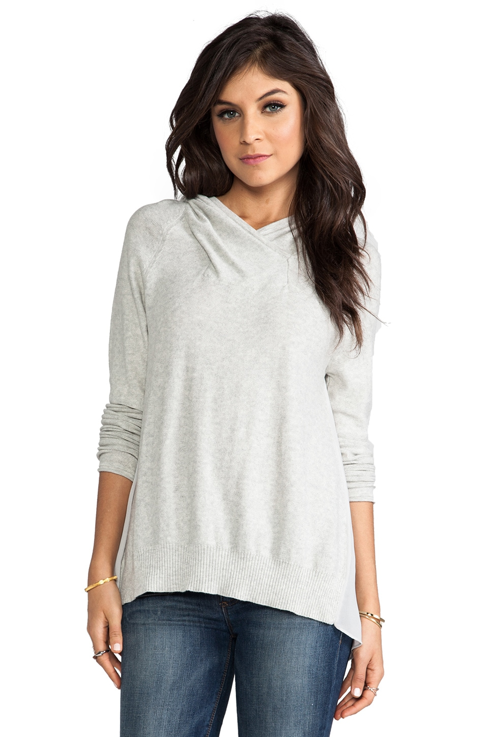 Central Park West Andover Hooded Sweater in Heather Grey