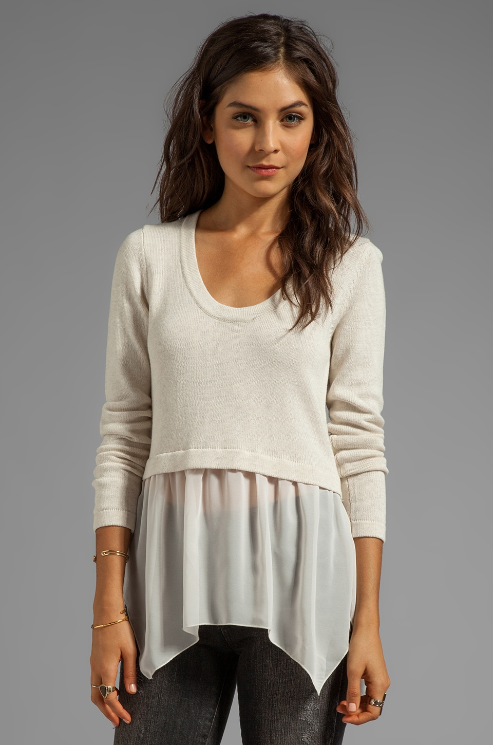 Central Park West Andover Sheer Combo Sweater in Bone