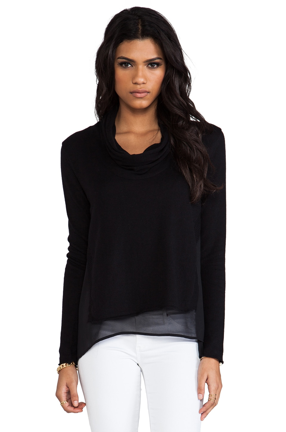 Central Park West Andover Cowl Neck Sweater in Black