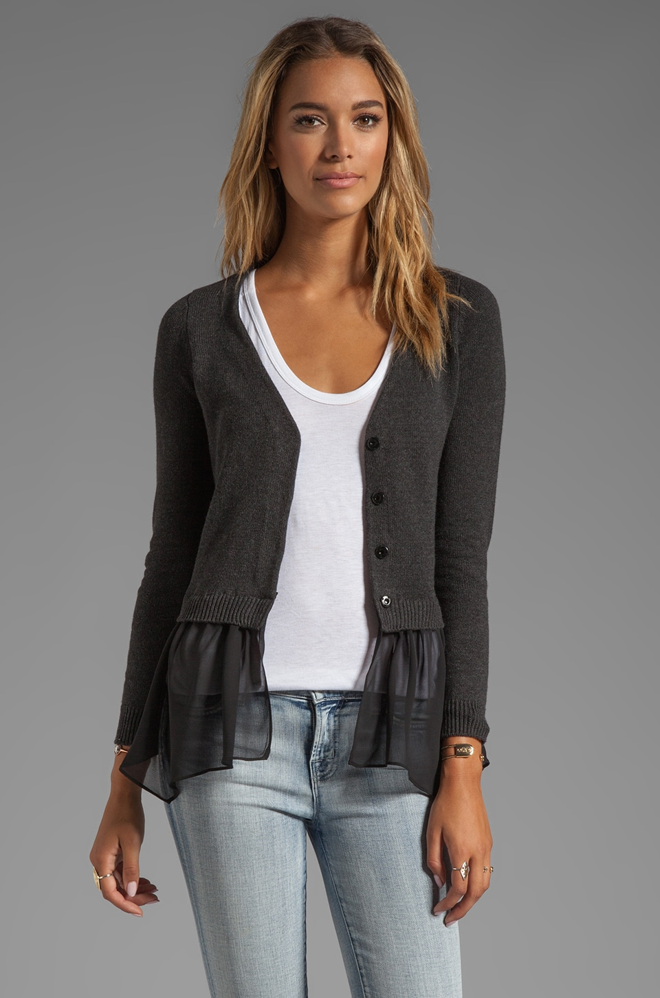 Central Park West Andover Cardigan in Charcoal