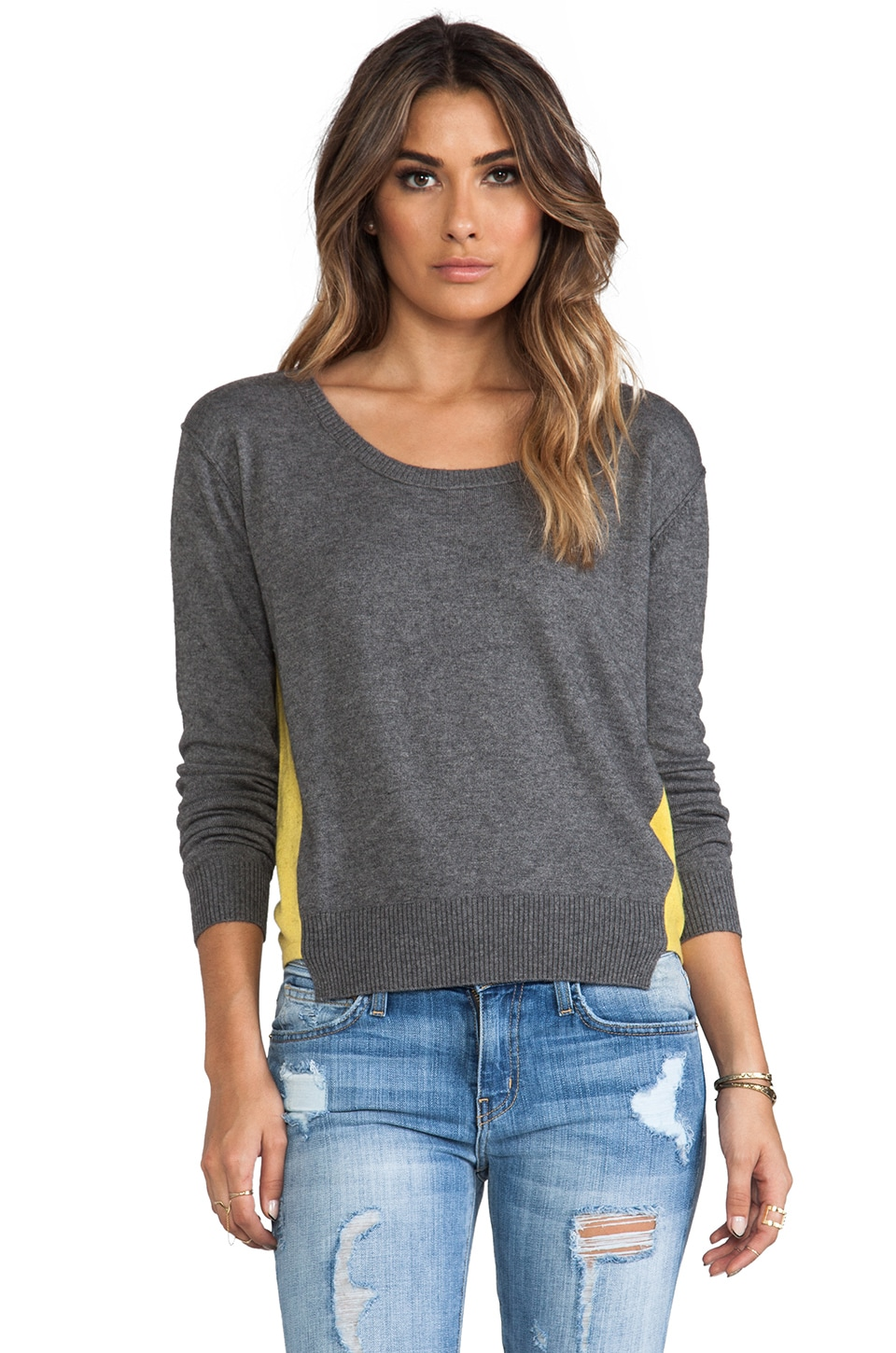 Central Park West Barrington Colorblock Sweater in Grey