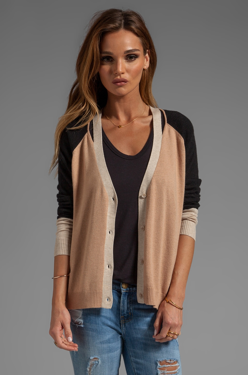 Central Park West Kingsport Cardigan in Camel