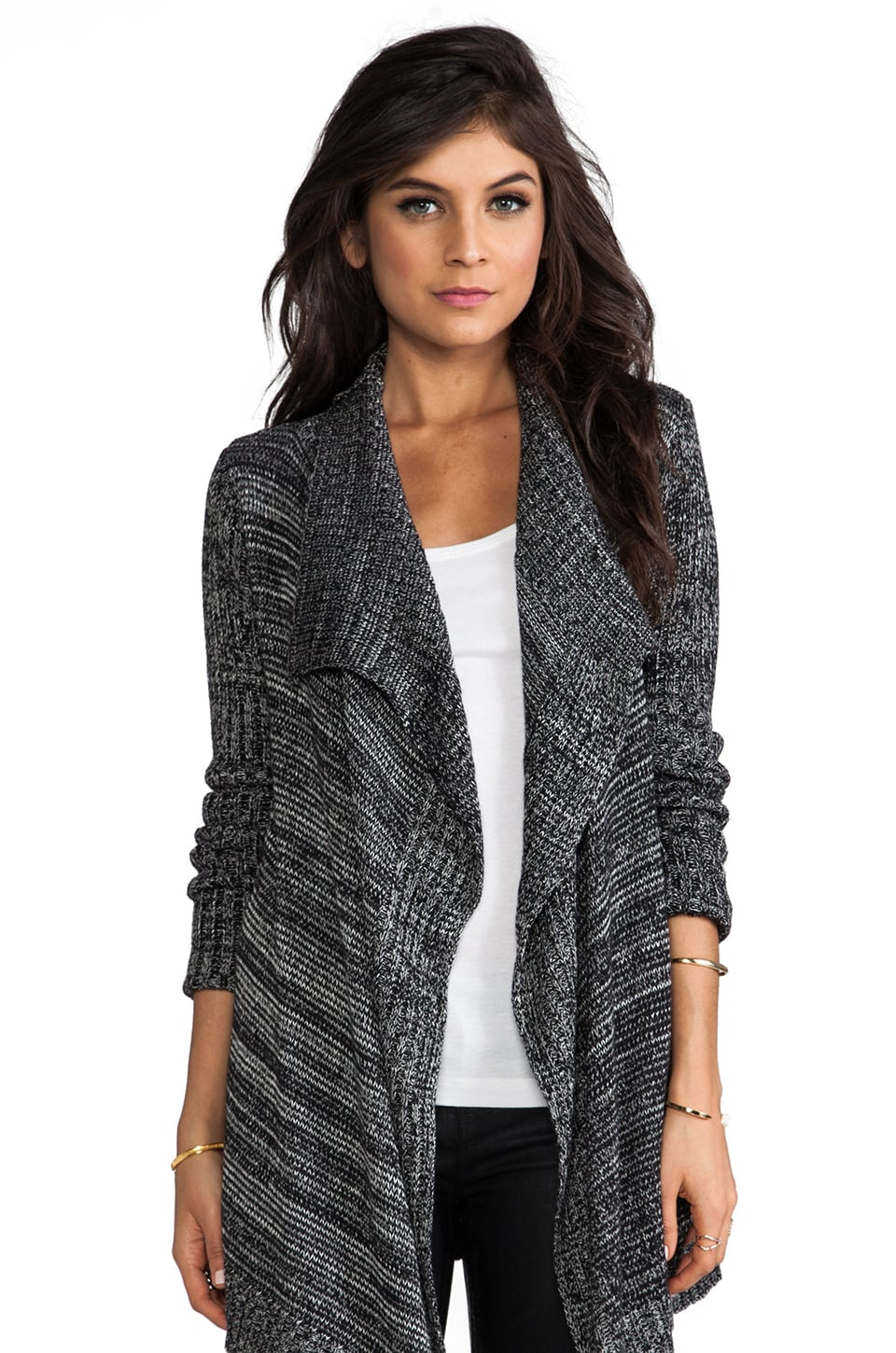 Central Park West Glenrock Draped Cardigan in Black