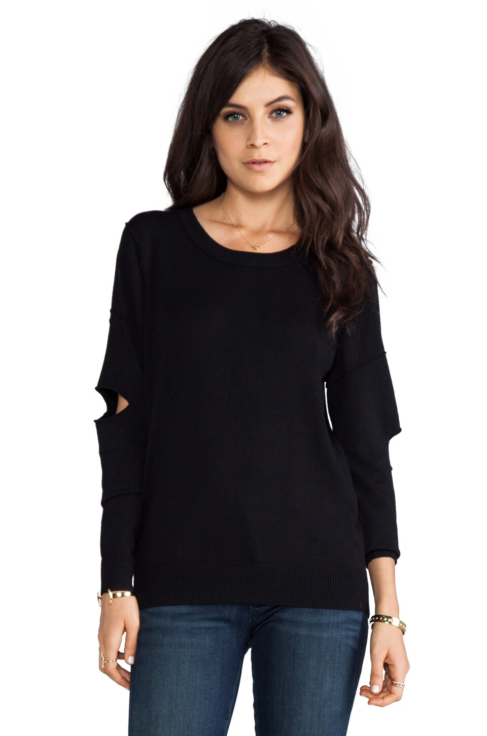 Central Park West Barclay Cutout Sleeve Pullover in Black