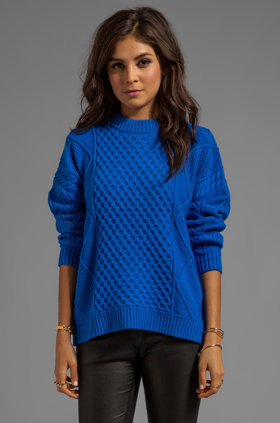 Central Park West Caribou Oversized Pullover in Cobalt