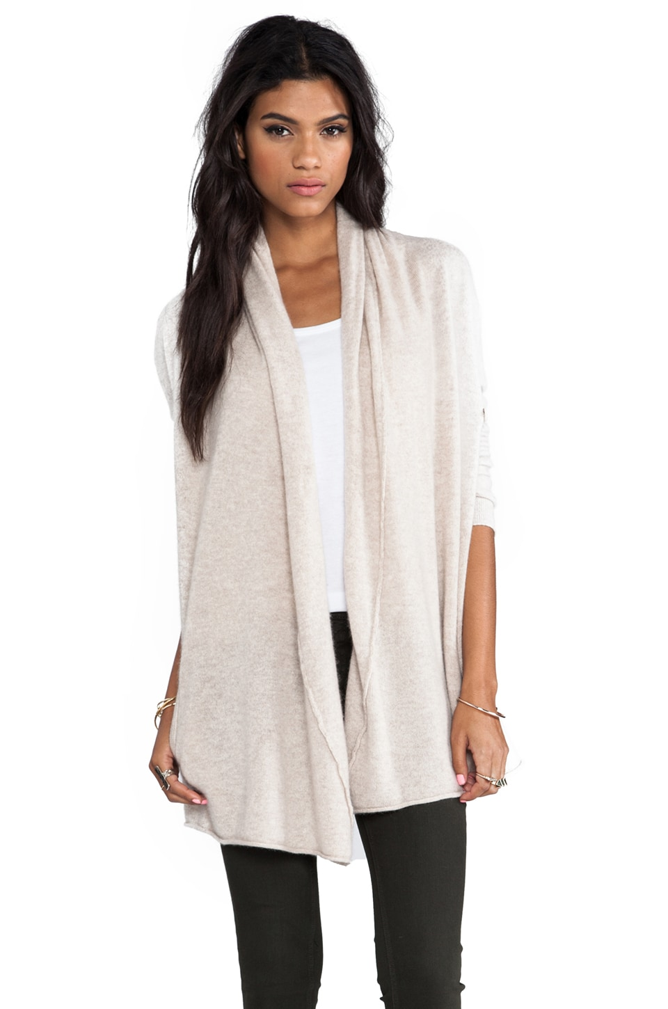 Central Park West Bristol Cashmere Cardigan in Oatmeal
