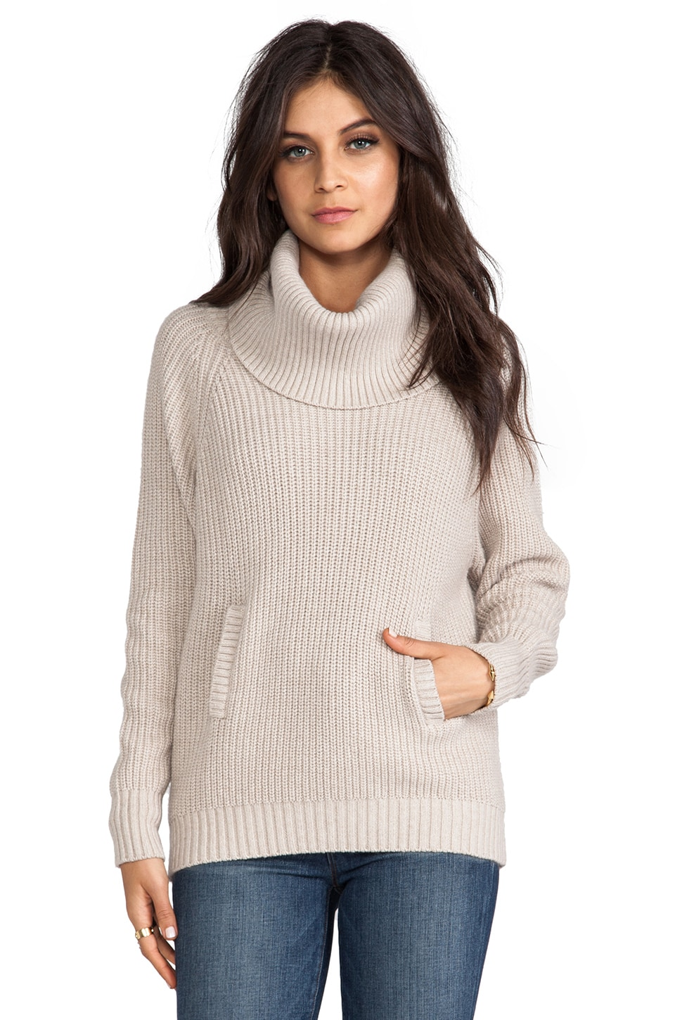 Central Park West Beaverton Cowl Neck Pullover in Oatmeal