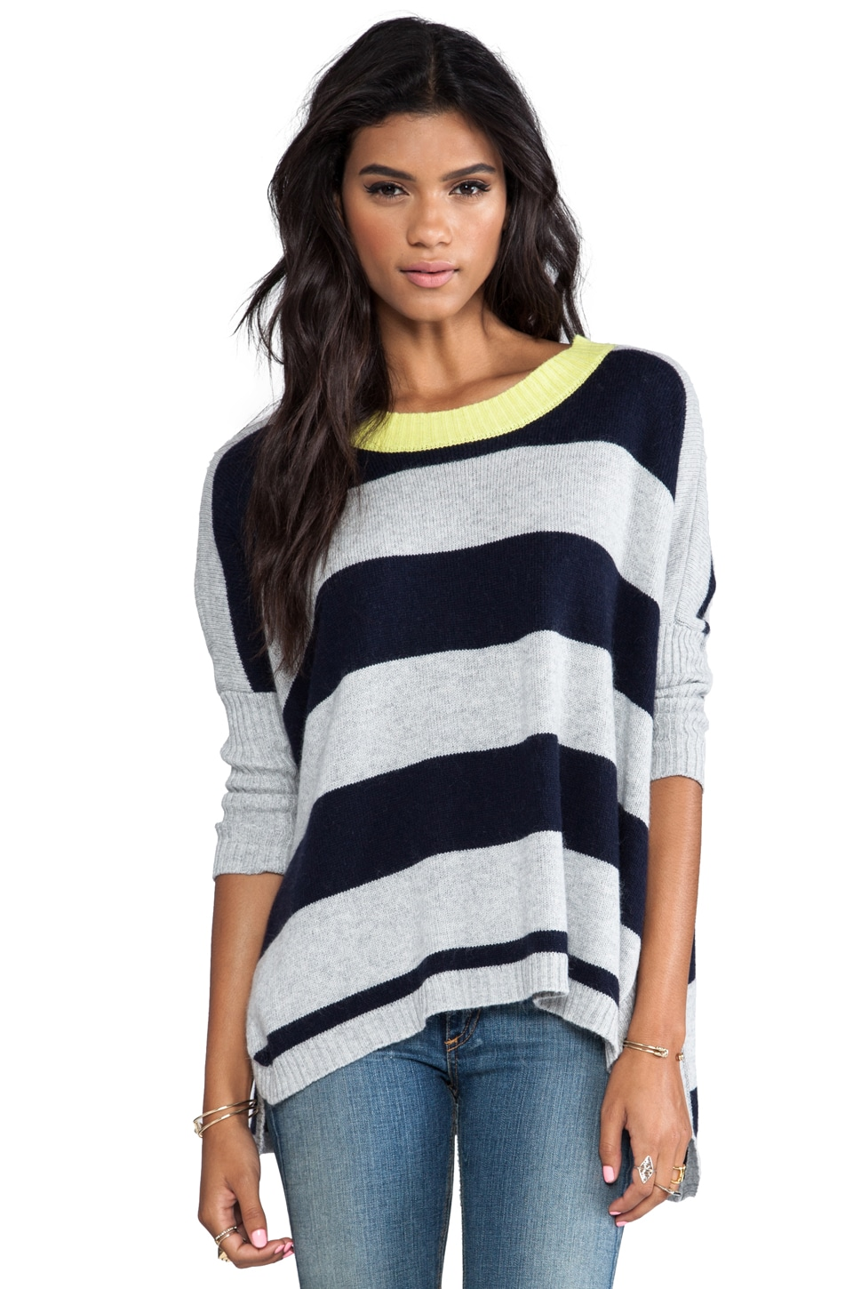 Central Park West Franklin Striped Sweater in Heather Grey/Navy