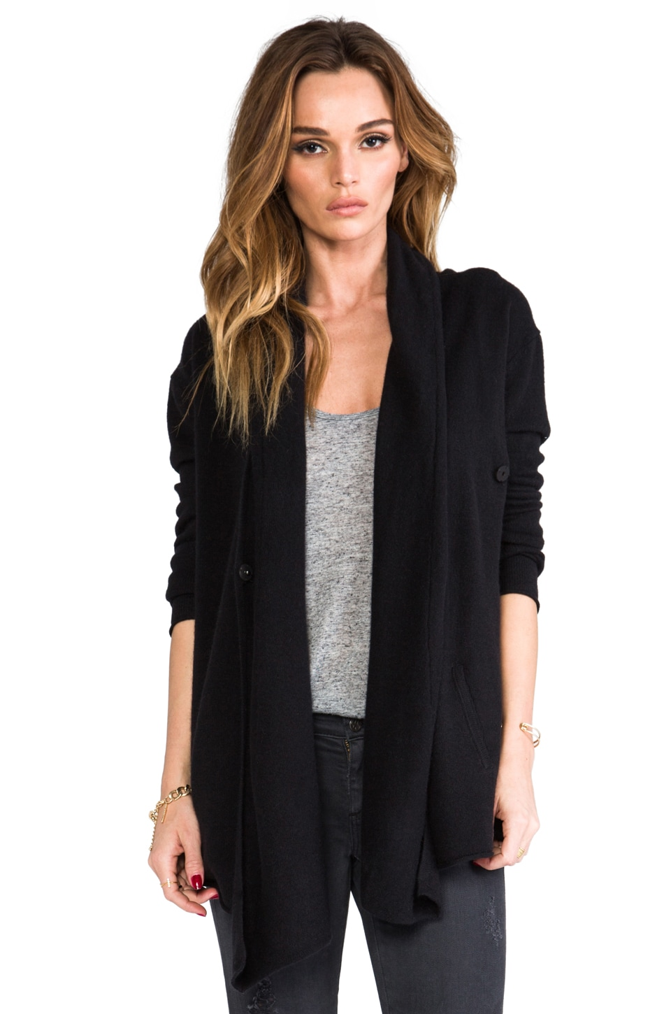 Central Park West Bristol Cashmere Cardigan in Black