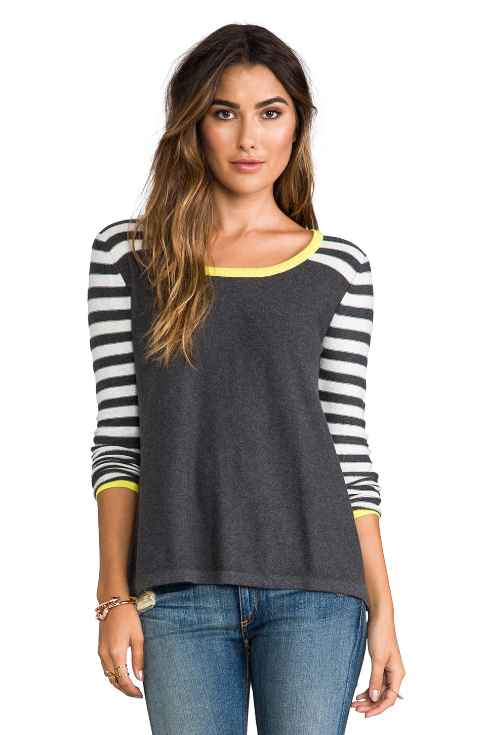 Central Park West Astor Court Striped Sweater in Charcoal